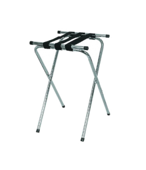 Deluxe Tray Stand, 2-1/2' H, with double bar and (3) straps, chrome plated