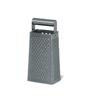Grater, round handle, stainless steel