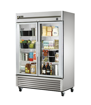 Refrigerator, Reach-in, two-section, glass doors, stainless steel front, aluminu