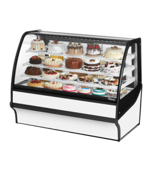 "Display Merchandiser, Refrigerated, 59-1/4""L, curved glass front, glass ends, (3"