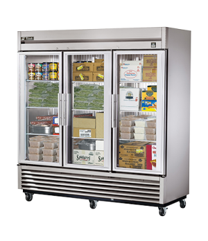 Freezer, Reach-in, three-section, -10°F, (3) glass doors, stainless steel front/