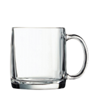 "Beer Mug, 13 oz., glass, Arcoroc, Nordic, (H 3-3/4""; M 3-1/4"")"