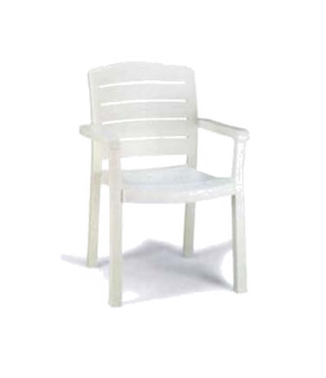 Acadia Classic Stacking Dining Armchair, designed for outdoor use, contoured sea