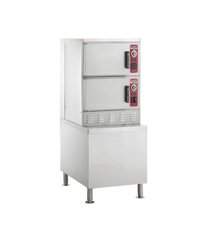 """Convection Steamer, Electric, 2 compartments on 24"""" cabinet base, (6)12""""x20""""x2-1"""