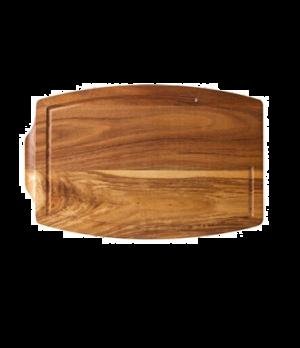 """Acacia Steak Platter, 13.5""""L x 8.75""""W (34 x 22 cm), juice catcher groove, plain,"""
