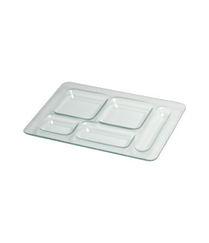 "Serving Tray, 16-1/4"" x 11-3/4"", 5-compartments, glass, Creations (priced per ca"