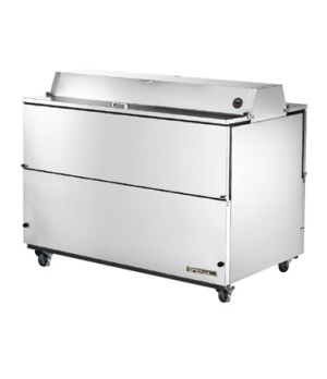 Mobile Milk Cooler, FORCED-AIR, (16) crates, DUAL SIDED stainless steel drop fro