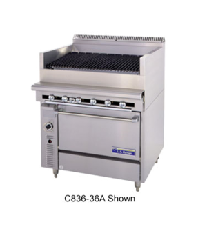 "Cuisine Series Heavy Duty Range, gas, 36"", Charbroiler, cast-iron radiants, fixe"