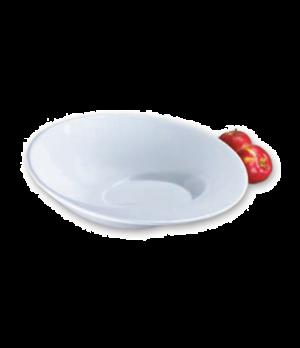 "Bowl, 16-1/2"" dia., 5"", angled, spiral design, ceramic, bright white, Aspire"