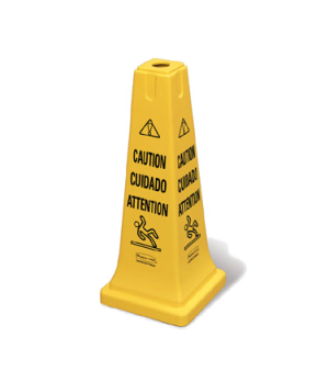 "Safety Cone, multi-lingual ""caution"", 10-1/2""L x 10-1/2""W x 25-3/4"", yellow"