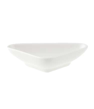 "Bowl, 4-3/8"" x 2-3/4"", 1-1/4 oz., flat, triangle, premium porcelain, Pi Carre"