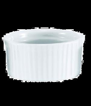 "Ramekin, 5 oz. (150ml), 3-1/2"" x 1-1/2"" (9 cm x 4 cm), porcelain, white, ribbed"
