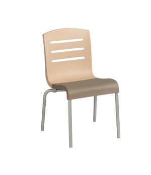 Domino Stacking Side Chair, resin back with slots cutout, resin seat, tubular st