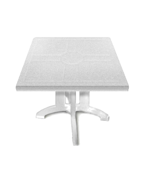 "Vega Folding Table, 32"" square, with umbrella hole, UV resistant resin, white"