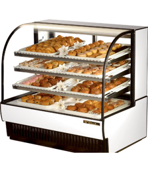 "Curved Glass Non-Refrigerated (Dry) Bakery Case, 50-7/8""L, glass ends, H.D. viny"