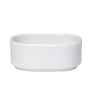 "Bowl, 4-1/4 oz., 3-1/2""L x 3""W, oval, stackable, white, premium porcelain, Unive"