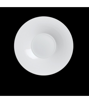 """Plate, 12"""" dia. (4-3/4"""" well), round, rimmed, porcelain, Aura, Rene Ozorio (pric"""