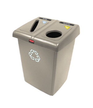 Glutton® Recycling Station, two stream sortation, 46 gallon, hinged lid, include