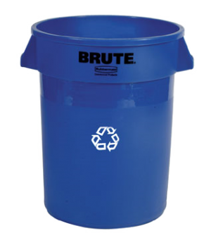 "BRUTE® Recycling Container, without lid, 20 gallon, 19-1/2""D x round, 22-7/8""H,"