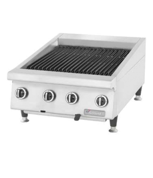 "Charbroiler, countertop, gas, 35-7/16"" W, heavy-duty, adjustable cast iron grate"
