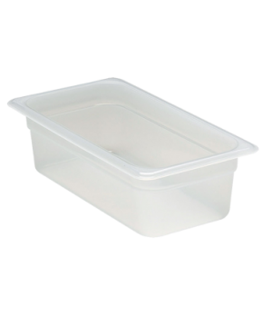 "Food Pan, 1/3 size, 4"" deep, translucent polypropylene, NSF"