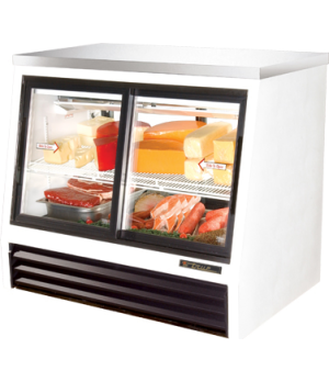 Counter-Height Deli Case, pass-thru, stainless steel top, (2) Low-E glass doors