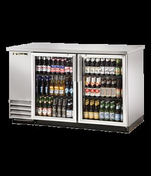 "Back Bar Cooler, two-section, 37"" high, (88) 6-packs or (2) keg capacity, (4) sh"