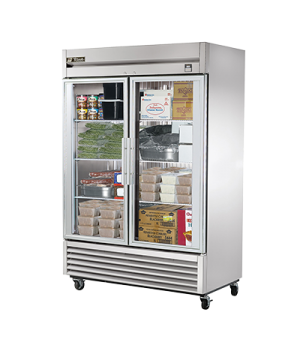 Freezer, Reach-in, two-section, -10°F, (2) glass doors, stainless steel front/si