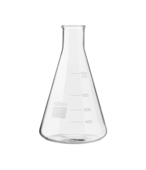"Erlenmeyer Flask, 34 oz. (1000 ml) capacity, 8-1/4"" H, stemless, with pour lines"