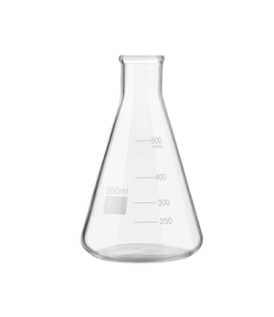 "Erlenmeyer Flask, 17 oz. (500 ml) capacity, 6-3/4"" H, stemless, with pour lines,"