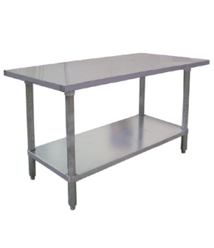 "(18855) Elite Series Work Table, 96""W x 30""D x 34""H, 18/430 stainless steel fla"