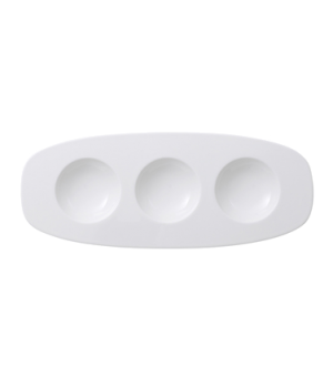 "Plate, 11-3/4"" x 4-3/4"", oval, with compartments, premium porcelain, Affinity"
