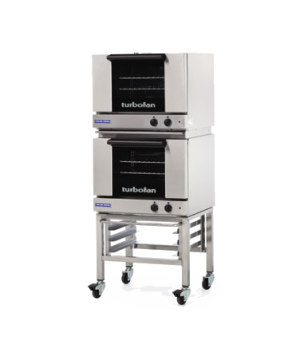 "Turbofan Convection Oven, electric, double stacked with stand, compact 24"" width"
