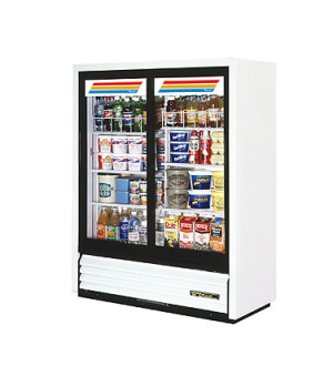 Convenience Store Cooler, two-section, (6) wire shelves, vinyl exterior, white i