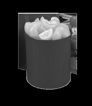 "Crock, 2.7 qt., 6-3/4""H, 6-1/8"" dia., with polyethylene lid, polypropylene, whit"