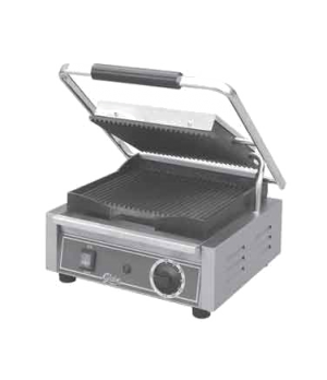Bistro Panini Grill, single, countertop, electric, seasoned cast iron grooved pl