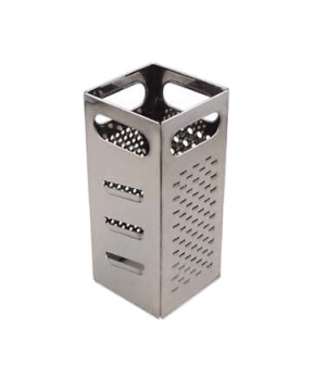 "Grater, 4"" x 4"" x 9""H, (4) surfaces: coarse shredder, medium shredder, slier & j"