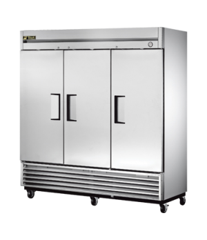 Refrigerator, Reach-in, three-section, stainless steel doors, stainless steel fr