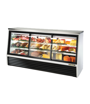 Single Duty Deli Case, pass-thru, stainless steel top, (3) Low-E glass doors fro