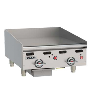 "Heavy Duty Gas Griddle, 54,000 BTU, 24""W x 24""D x 1"" thick polished steel griddl"