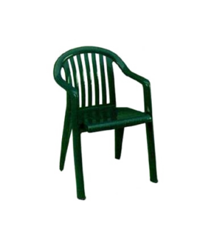 Miami Lowback Stacking Armchair, designed for outdoor use, open back w/flexible