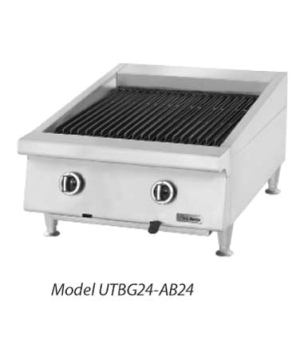 "Charbroiler, countertop, gas, 24"" W, heavy-duty, ceramic briquette, adjustable c"