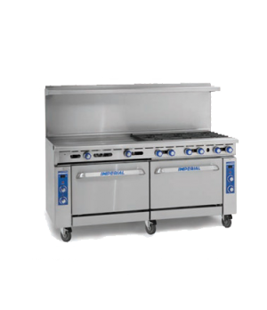 "Restaurant Range, gas, 72"", (12) open burners, (2) standard ovens, (1) chrome ra"