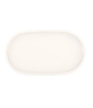 "Pickle Dish, 11"" dia., oblong, narrow rim, premium porcelain, Artesano"