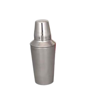 "Cocktail Shaker, 16 oz., 3-3/4"" dia. x 4-3/4""H, cover cup, strainer, satin finis"