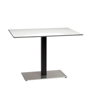 "Contemporary Pedestal Base, single, 16"" x 28"" rectangular stainless steel plate,"