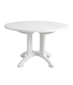 "Aquaba Pedestal Table, 48"" round, balcony legs, with umbrella hole, Rexform® UV"