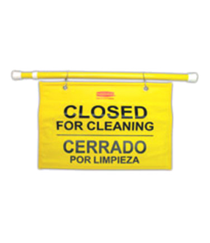 "Sign, ""Closed For Cleaning"", Trilingual, 13"" H, 1"" W, 44"" Long (open), yellow"