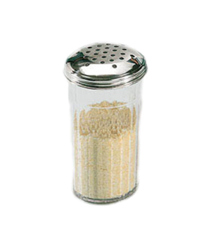 "Cheese Shaker, 12 oz., 3-3/8"" dia. x 5-1/2""H, heavy-duty, stainless steel top, t"