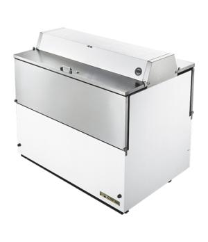 Mobile Milk Cooler, FORCED-AIR, (12) crates, DUAL SIDED stainless steel drop fro